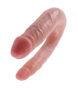 PENE DOBLE REALISTA SMALL DOUBLE TROUBLE KING COCK BLANCO
