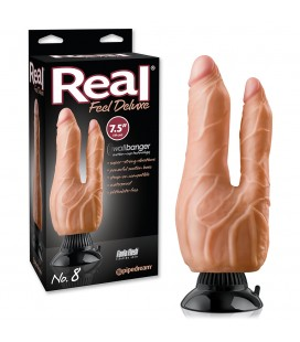 VIBRADOR DOBLE REALISTA REAL FEEL DELUXE Nº8 7,5'' BLANCO
