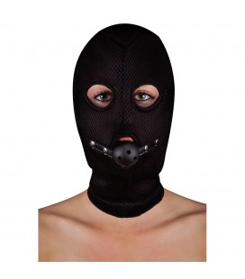 OUCH! EXTREME MESH BALACLAVA MASK WITH BALL GAG BLACK