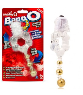 ANILLO PARA EL PENE CON VIBRACIÓN SCREAMING O BANG-O TRANSPARENTE