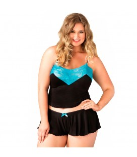 LEG AVENUE SERAPHINA PLUS SIZE SET BLACK AND BLUE
