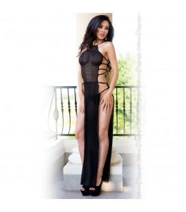 BABYDOLL AND THONG CR-4085 BLACK