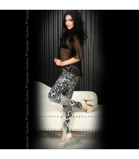 LEGGINGS CR-3456 BLUE AND BLACK