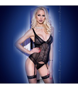 CORSET AND THONG CR-4114 BLACK