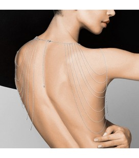 THE MAGNIFIQUE COLLECTION SHOULDER AND BACK METALLIC COLLAR BIJOUX INDISCRETS SILVER