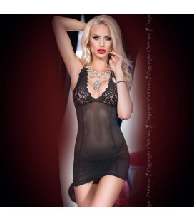 CHEMISE AND THONG CR-4147 BLACK
