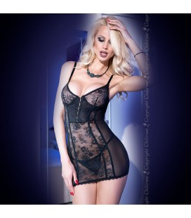 CHEMISE AND THONG CR-4140 BLACK