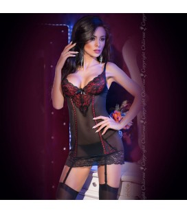CHEMISE AND THONG CR-4153 BLACK