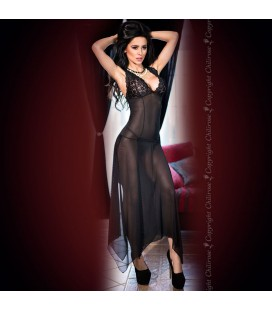 GOWN AND THONG CR-4146 BLACK