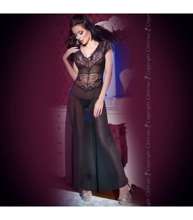GOWN AND THONG CR-4167 BLACK