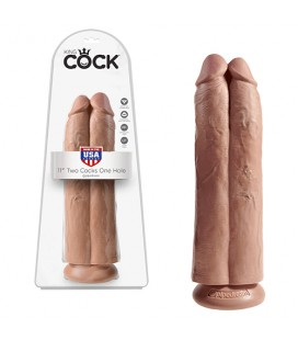 "DILDO REALÍSTICO KING COCK 11"" TWO COCKS ONE HOLE LATINO"