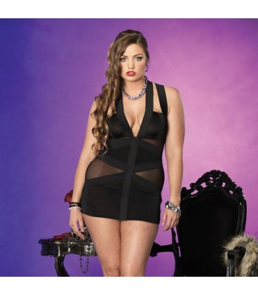 PLUS SIZE DRESS WITH TRANSPARENCIES