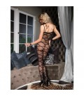 SHEER BODYSTOCKING WITH OPAQUE CRISS CROSS