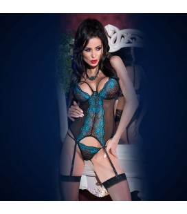 LACE CORSET AND THONG CR-4213 BLACK AND BLUE