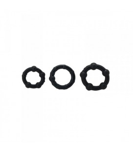 TIMELESS STUD COCK RINGS SET BLACK