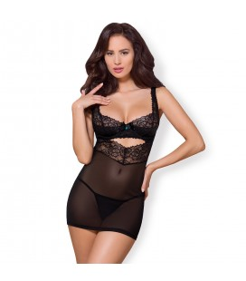 OBSESSIVE 867-CHE CHEMISE AND THONG BLACK