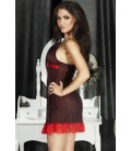 BABYDOLL AND STRING CR-3170 BLACK WITH RED POLKA DOTS