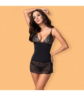 OBSESSIVE AILAY CHEMISE AND THONG BLACK