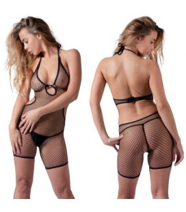 FISHNET BODYSTOCKING WITH SHORTS BLACK