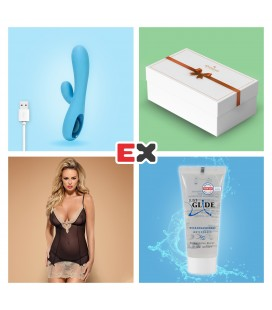 GIFT BOX WITH BLUE TEASE RECHARGEABLE VIBRATOR AND OFFER OF BISQUELLA CHEMISE S/M + JUST GLIDE LUBRICANT 20ML