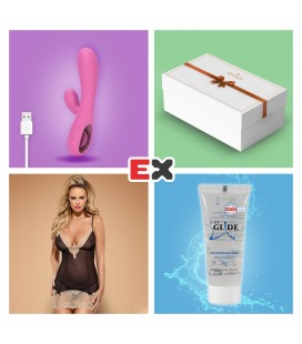 GIFT BOX WITH PINK TEASE RECHARGEABLE VIBRATOR AND OFFER OF BISQUELLA CHEMISE S/M + JUST GLIDE LUBRICANT 20ML