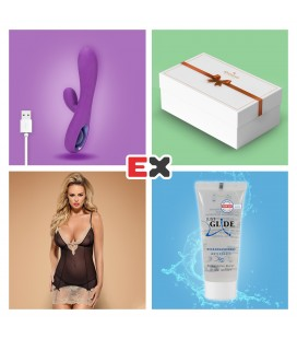 GIFT BOX WITH PURPLE TEASE RECHARGEABLE VIBRATOR AND OFFER OF BISQUELLA CHEMISE S/M + JUST GLIDE LUBRICANT 20ML