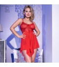 CR-4370 BABYDOLL AND THONG RED