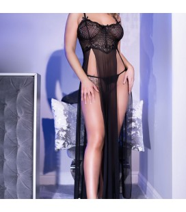 CR-4371 LONG GOWN AND THONG BLACK