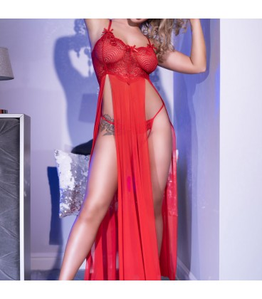 CR-4371 LONG GOWN AND THONG RED