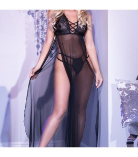 CR-4377 LONG GOWN AND THONG BLACK