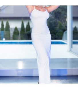 CR-4379 DRESS AND THONG WHITE