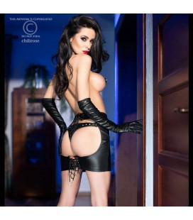 CR-4362 LEATHER IMITATION SKIRT AND THONG