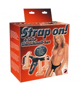 STRAP-ON COM 3 DILDOS BRANCOS
