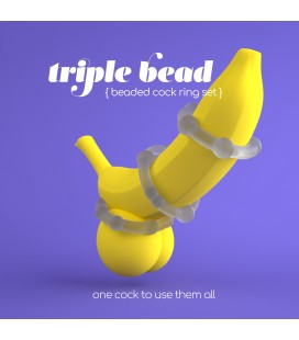 TRIPLE BEAD COCKRING SET CLEAR CRUSHIOUS