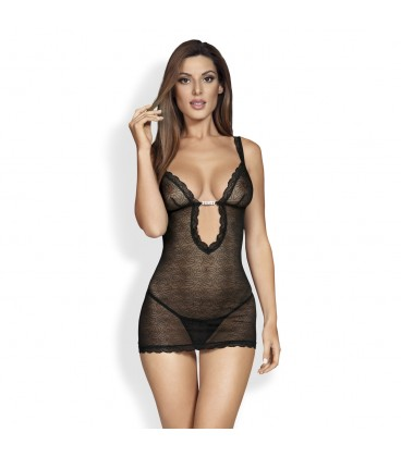 OBSESSIVE 877-CHE CHEMISE AND THONG BLACK