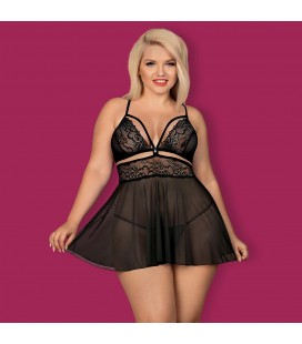 OBSESSIVE QUEEN SIZE 838-BAB BABYDOLL AND THONG BLACK
