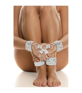 OUCH! LEATHER HAND AND LEG CUFFS WHITE