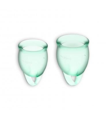 FEEL CONFIDENT 2 MENSTRUAL CUPS SET SATISFYER LIGHT GREEN