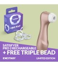 LIMITED EDITION SATISFYER PRO 2 STIMULATOR WITH FREE TRIPLE BEAD COCKRING SET CLEAR