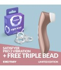 LIMITED EDITION SATISFYER PRO 2 VIBRATION STIMULATOR WITH FREE TRIPLE BEAD COCKRING SET CLEAR