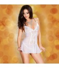 BABYDOLL AND THONG CR-3472 WHITE
