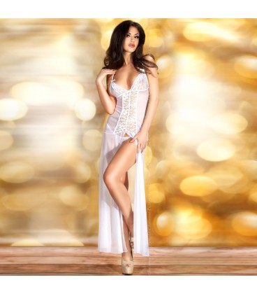 BABYDOLL AND THONG CR-3470 WHITE