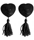 HEART NIPPLE TASSELS OUCH! NIPPLE COVERS BLACK