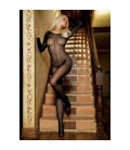 BLACK SHEER BODYSTOCKING WITH FRONT SEAM