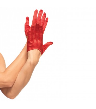 MINI CROPPED RED SATIN GLOVES