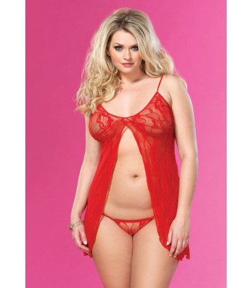 PLUS SIZE RED LACE BABYDOLL AND STRING