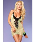 FISHNET DRESS WITH FLORAL EMBROIDERY NEON GREEN