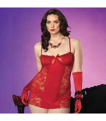 PLUS SIZE LACE BABYDOLL RED