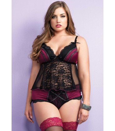 PLUS SIZE TULLE AND LACE BABYDOLL