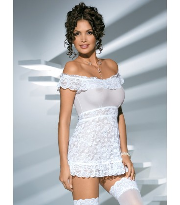 OBSESSIVE BABYDOLL AND THONG FLORES WHITE